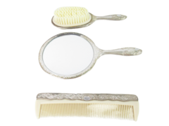 Vintage 3 Piece Silver Plated Vanity Set Hand Mirror Brush Comb Ornate Floral