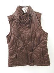 Gap Kids Vest Chocolate Brown Puffer Fleece Insulated Pockets Unisex Size L (10)