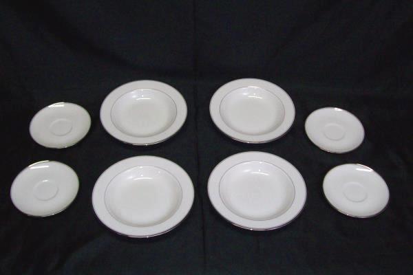 Lot of 8 Mikasa Gothic Platinum Bone China White Plates 4 Small 4 Large