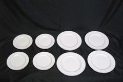 Mikasa Plate Lot: Gothic Platinum Bone China White 4 Medium 4 Large