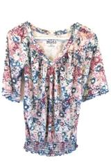 Mudd Women's Pink and Blue Floral Shirt Size Small
