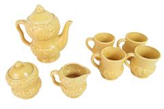 9 Pc Embossed Ceramic Tea Set Japan Yellow Fruits Teapot 4 Cups Creamer Sugar