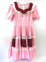 Vintage Pete Bettina Dress Square Dance Maroon Pink Lace Women's Size 14