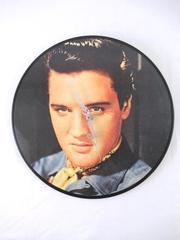 Vintage ELVIS PRESLEY Wall Clock Record Hot Dog 1984 Tested Works 12 Inch