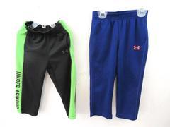 Lot of 2 Sweats Pants Under Armour Black Lime Green Neon Orange Boy's Size 2T