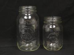 Lot of 2 Vintage Golden Harvest Mason Jars Small Large No Lids Clear
