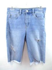 VERVET Jean Shorts Soft Light Blue Wash Denim Distressed Frayed Hem Women's S