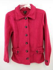 Alps Jacket Coat Rasberry Pink Fleece Long Sleeve Buttons Women Size 8