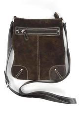 Black Rivet Brown Faux Suede Crossbody Shoulder Bag Adjustable Buckle Strap