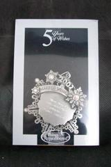 "5 Years Of Wishes Snowflake Ornament ""May Angels Surround You Always"" Pewter"