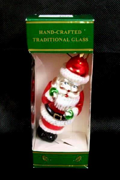Hand Crafted Traditional Glass Santa Clause Ornament