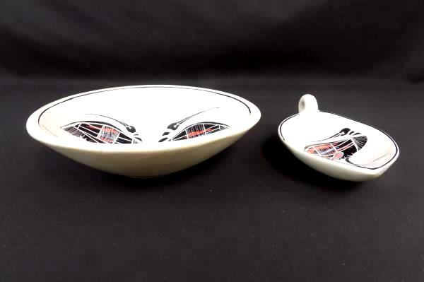 Australian Kiwi Ceramic Art Pottery Set - Bowl with Spoon Rest Small Bowl Handle