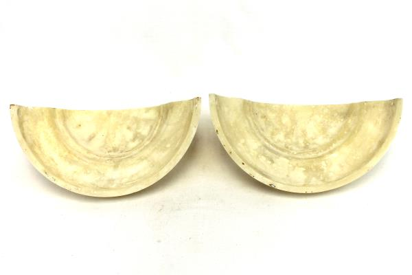 Set of 2 Contemporary Flush Marbelized Resin Beige Cream Wall Sconce Shades