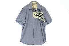 Men Toxic Hazard Blue Striped Embroidered Bird Beach Short Sleeve Button Shirt L