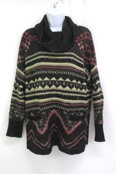 Junior Girls Lucky Brand Sweater Sz M Multi Colored Zig Zag Print