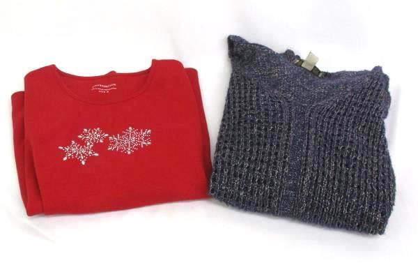 Lot Of 2 Women's Tops Nine West Knit Sweater Charter Club Red Long Sleeve Sz M