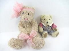 Lot of 2 Teddy Bears Fuzzy Pink Bow Plush Size Large Small Ben Franklin Stores
