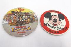 Lot of 2 Disney Pinbacks Mickey Mouse Club Member & Mickey's Toontown Disneyland