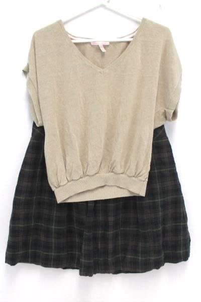 2 Piece Women's Outfit Cabi Pleated Plaid Skirt Victoria Secret Knit Crop Top M
