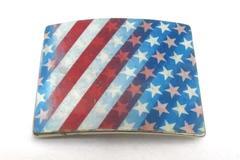 Vintage America Patriotic Belt Buckle Stars & Stripes Holographic Red White Blue