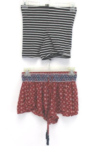 Lot of 2 Forever 21 Mini Shorts Stripes and Paisley Drawstring Summer Size XS