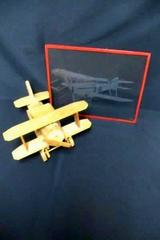 "Handmade Wooden 14"" Bi Plane Figurine and Etched Glass Bi Plane Picture No Frame"