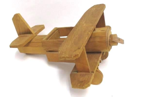 """Handmade Wooden 14"""" Bi Plane Figurine and Etched Glass Bi Plane Picture No Frame"""
