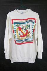 Moon Craft Women's White Fish & Anchor Nautical Sweatshirt Sweater Size Large