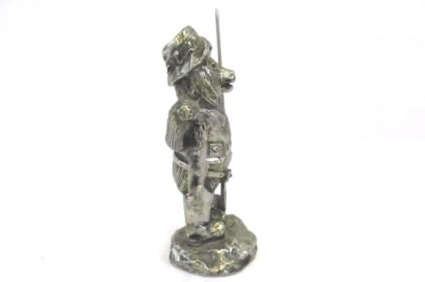 Vintage Pewter Bear Bouvier In A Fisherman's Outfit Holding The Catch of the Day