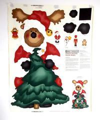 XL Daisy Kingdom Xmas Santa Moose Door Fabric Panel + Ornaments Applique UNCUT