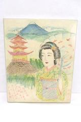Unique Marker On Fabric Art Drawing Japanese Girl Homesick For Mountain Home