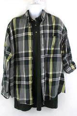 2 Men's Shirts Green Polo New with Tag SS & Green Plaid Nautica LS Size Large