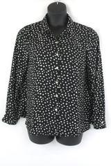 Spense Women's Button Up Shirt Long Sleeve Office Blouse Polka Dot Size Large