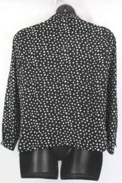 Spense Women's Button Up Shirt Long Sleeve Office Blouse Polka Dot Size Large