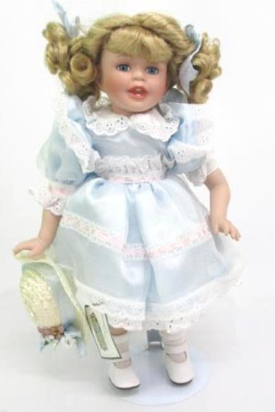 """Collections Etc. Porcelain Doll w/ Stand 14"""" Blue Dress Wicker Hat White Shoes"""