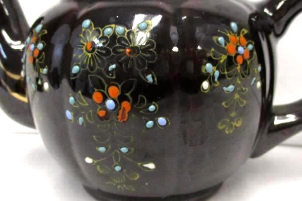 Miniature Hand Painted Teapot Brown Gold Gilt Flowers Textured Made in Japan
