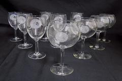 Lot of 10 Enological Society Wine Water Goblet Glasses Novelty Grapes