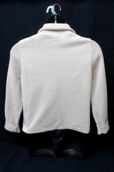 Effeci Women's Zip Up Jacket Fleece Body Knit Sleeves Beige Size Large