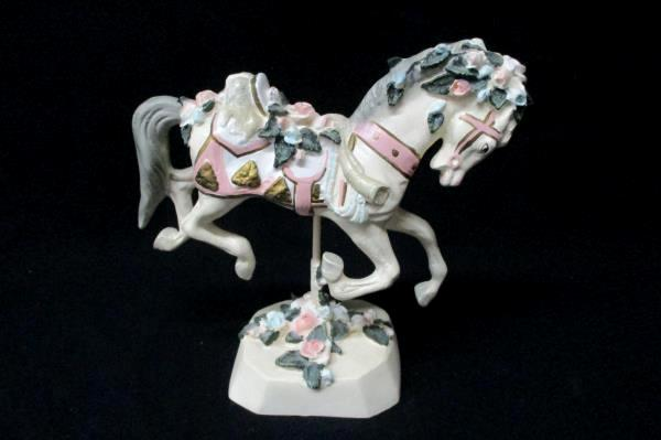 Vintage Carousel Horse Figurine Delicate White Pink Blue Roses Lion Saddle Stand