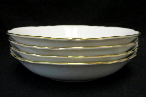 """Set of 4 Bowl's 7.5"""" Crescent China by Ranmaru Golden Shell Japan White"""