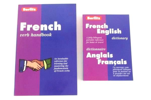 2 Lot PB Books Berlitz French English Dictionary and Verb Handbook