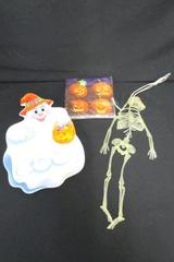 Lot of 3 Mixed Halloween Items Boo Ghost Plate Plastic Skeleton Pumpkin Napkins
