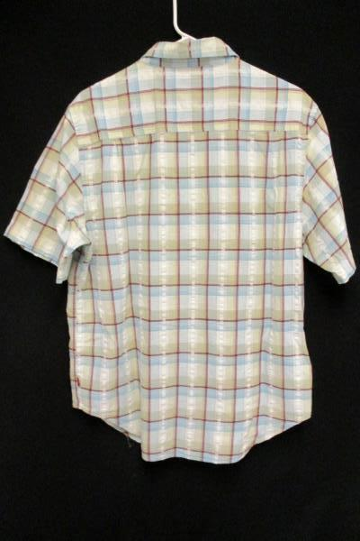 Men's LEVI'S Button Up Down Blue White Red Plaid Short Sleeved Cotton Size Large