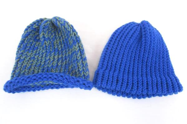 Lot of 2 Handmade Hats Crochet Blue Green Boys Children's One Size Fits Most