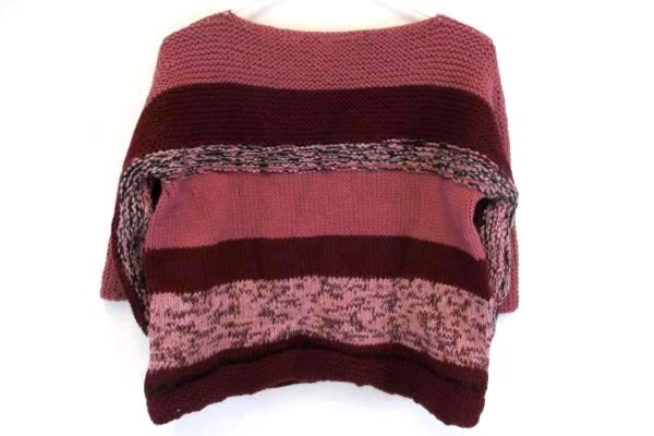 Girl's Handmade Knit Crop Sweater 3/4 Sleeves With Matching Hat Rose Pink L