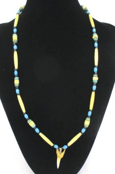 Turquoise and Bone Sliver Tone Beaded Necklace