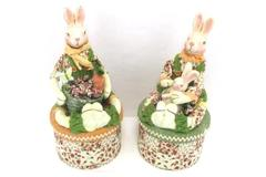 Lot of 2 Boy Girl Rabbits On Round Boxes Floral Home Decor Decoration