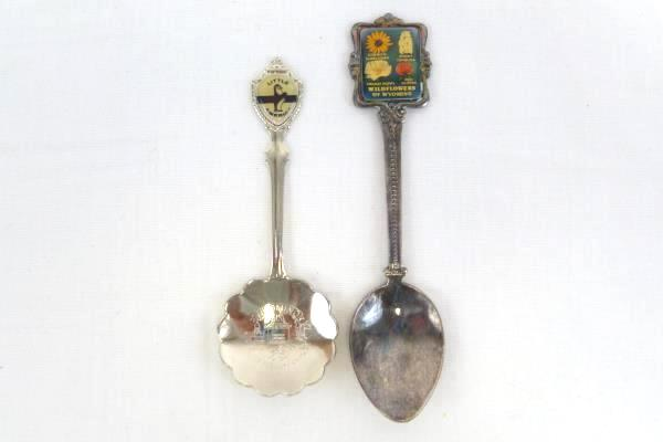 Lot of 2 Wyoming Souvenir Spoon Little America Equality State Wildflowers State