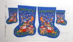 VTG JoAnn's 2 Christmas Stockings Panel Fabric Blue North Pole DIY