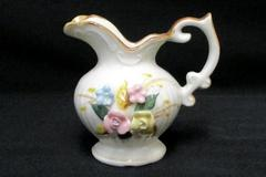 Miniature Demitasse Hand Painted Pitcher Intricate Delicate Floral Design